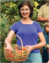 Barbara Kingsolver picking tomatoes at her Virginia farmstead