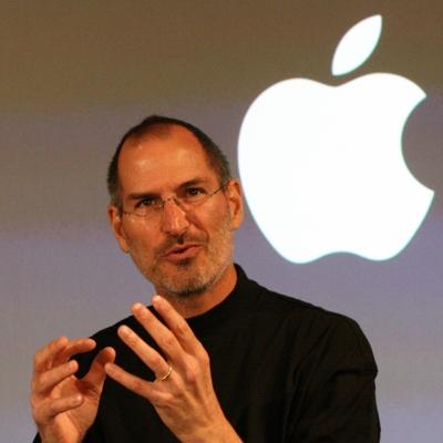 Steve Jobs looking excited.